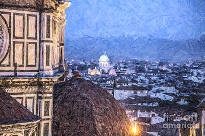 Cityscape Digital Art - Tempio Maggiore And Duomo Florence by Liz Leyden
