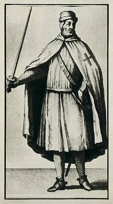 Medieval Temple Photograph - Templar Knight Wearing A War Dress by Everett
