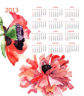 2013 Calendar Painting - Template For Calendar by Regina Jershova