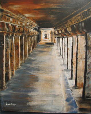 Art Print featuring the painting Temple Aisle-mandapam by Brindha Naveen