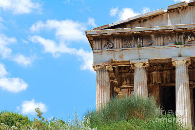 Hephaestus Wall Art - Photograph - Temple And Blue Sky by Grigorios Moraitis