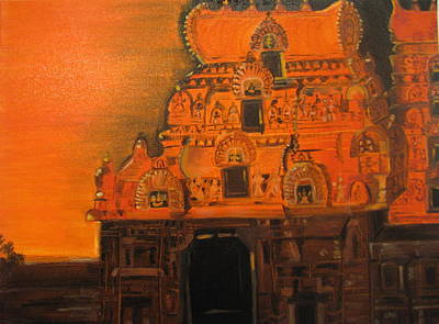 Art Print featuring the painting Temple At Dawn by Brindha Naveen