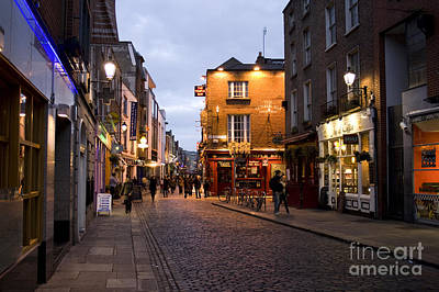 Temple Bar District In Dublin At Night Art Print by Patricia Hofmeester