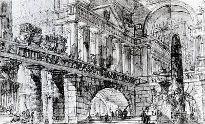 Monolith Drawing - Temple Courtyard by Giovanni Battista Piranesi