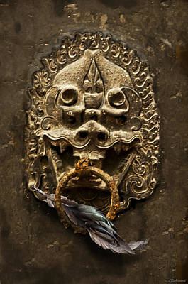 Temple Guardian With Feather Art Print by Larry Butterworth