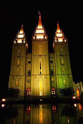 Temple In Salt Lake City Print by Jeff Swan