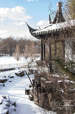 Print featuring the photograph Temple In Snow by Vicki DeVico