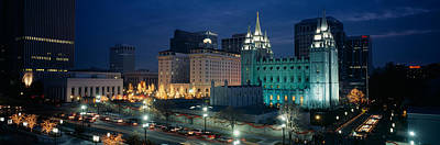 Mormon Temple Photograph - Temple Lit Up At Night, Mormon Temple by Panoramic Images