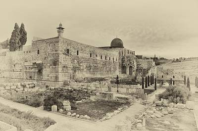 Photograph - Temple Mount Jerusalem Antiqued by Mark Fuller