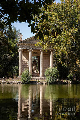 Temple Of Aesculapius And Lake In The Villa Borghese Gardens In  Art Print