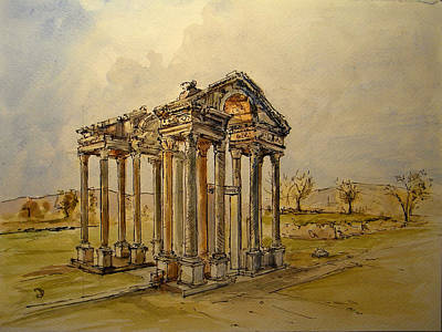 Greek Temple Painting - Temple Of Aphrodite by Juan  Bosco