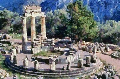 Painting - The Tholos At The Temple Of Athena Pronaia In Delphi V by George Atsametakis