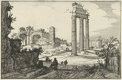 Basilica Drawing - Temple Of Castor And Pollux And The Basilica Of Constantine by Artokoloro
