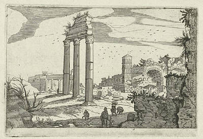 Basilica Drawing - Temple Of Castor And Pollux And The Basilica Of Constantine by Willem Van Nieulandt (ii) And Anonymous