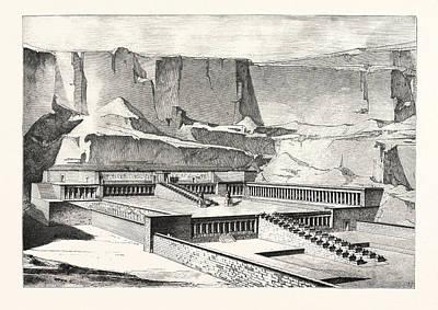 Restoration Drawing - Temple Of Deyr-el-bahree, Imaginary Restoration by Litz Collection