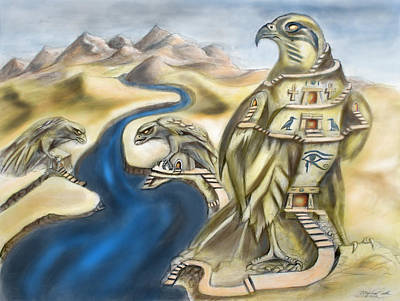 Temple Of Horus Three Of Three Art Print by Michael Cook