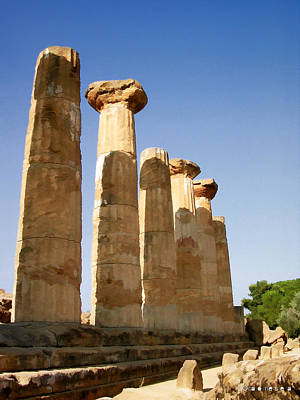 Photograph - Temple Of Juno Agrigento Sicily by Caroline Stella