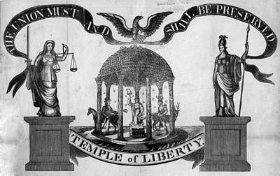 Justice Painting - Temple Of Liberty, 1834 by Granger