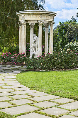 Temple Of Love Statue At The Rose Garden Of The Huntington. Art Print by Jamie Pham