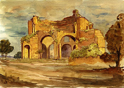 Ruins Painting - Temple Of Minerva Rome by Juan  Bosco