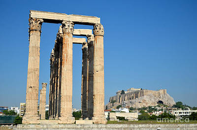 Temple Of Olympian Zeus And Acropolis In Athens Art Print by George Atsametakis