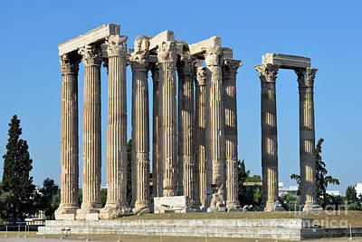 Zeus Photograph - Temple Of Olympian Zeus In Athens by George Atsametakis