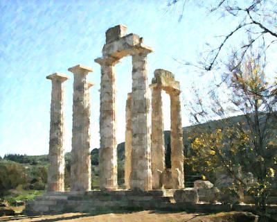 Zeus Mixed Media - Temple Of Zeus Nemea by Dan Chavez