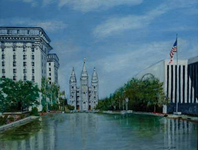 Church Of Jesus Christ Of Latter-day Saints Painting - Temple Reflections by Robert Jenson