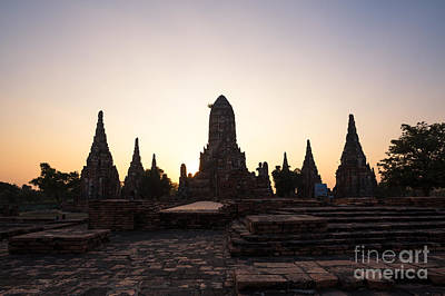 Thailand Photograph - Temple Ruins At Sunset - Ayutthaya - Thailand by Matteo Colombo