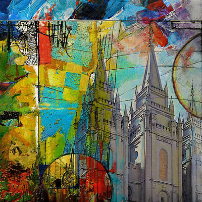 Abstract Skyline Paintings - Temple Square at Salt Lake City by Corporate Art Task Force