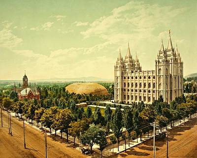 Assembly Hall Photograph - Temple Square Church Salt Lake City 1899 by Movie Poster Prints