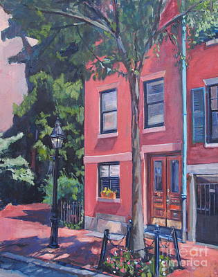 Suffolk Painting - Temple Street Beacon Hill by Deb Putnam