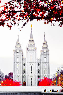 Slc Temple Photograph - Temple White N Red by La Rae  Roberts