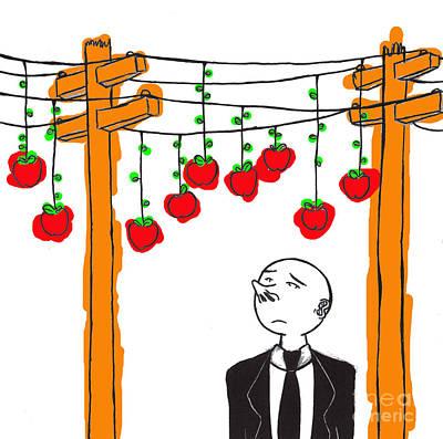 Telephone Poles Drawing - Temptation  by Brandon Lynch