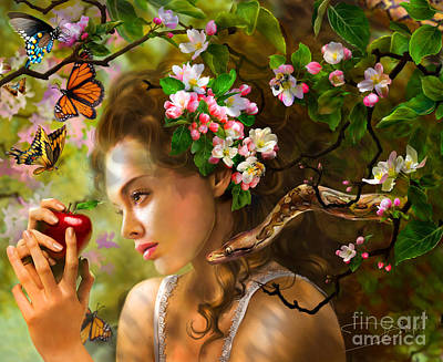Temptation Of Eve Art Print by Drazenka Kimpel