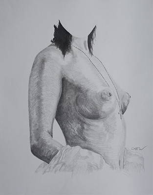 Boobies Drawing - Temptress by Christian Whalvin