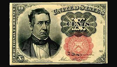 Ten Cents 5th Issue U.s. Fractional Currency Fr 1266 Art Print by Lanjee Chee