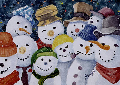Painting - Ten Little Snowmen by Sam Sidders