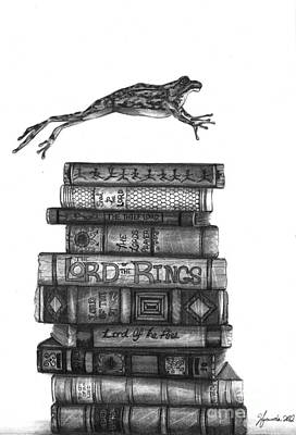 Books Drawing - Ten Lords A Leaping by J Ferwerda