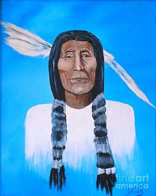 Art Print featuring the painting Chief Wolf Robe by Donna Dixon