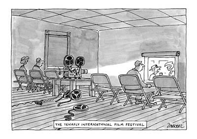 Folding Chairs Drawing - Tenafly International Film Festival by Jack Ziegler