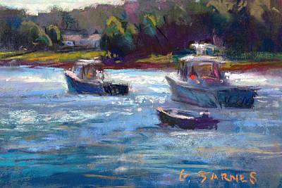Pastel - Tenants Harbor Boats by Greg Barnes