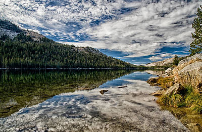 Cloudy Day Photograph - Tenaya Lake Reflections by Cat Connor