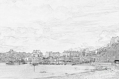 Photograph - Tenby Harbor Pencil Sketch 2 by Steve Purnell