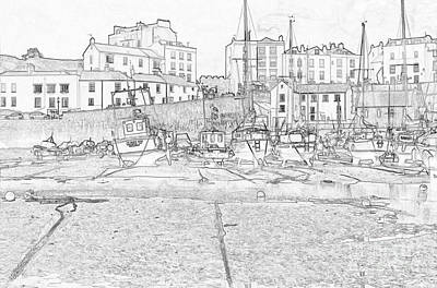 Photograph - Tenby Harbor Pencil Sketch 3 by Steve Purnell
