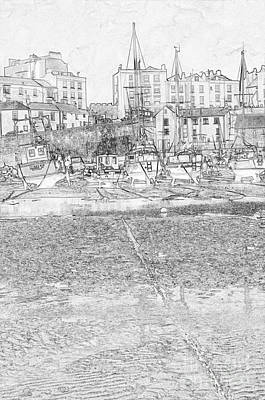 Photograph - Tenby Harbor Pencil Sketch 4 by Steve Purnell
