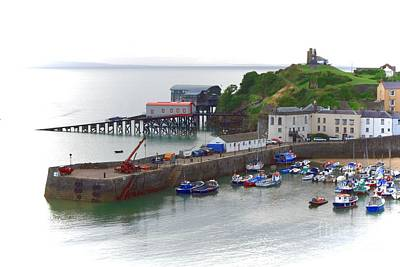 Photograph - Tenby Harbour And Castle Hill by Jeremy Hayden