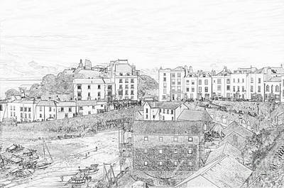 Photograph - Tenby Harbour Pencil Sketch 5 by Steve Purnell