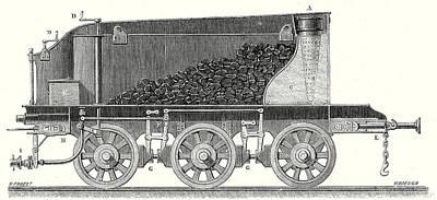 Wagon Wheels Drawing - Tender by English School