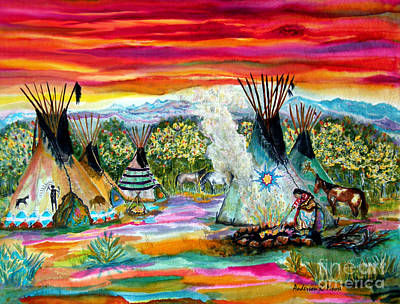 Canoe Mixed Media - Tending The Fires by Anderson R Moore